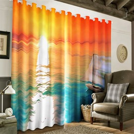 3D Peaceful Seas and Golden Sunrise Printed Two Panels Blackout Window Drapes