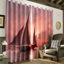 3D Sail Boat on the Waving Sea Printed 2 Panels Decorative and Blackout Curtain