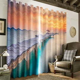 Wooden Bridge and Peaceful Seas Printed 2 Panels Decorative and Heat Insulation Curtain