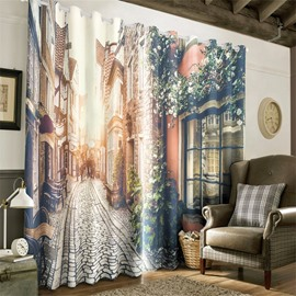 3D Peaceful European Buildings and Road Printed 2 Panels Custom Living Room Curtain