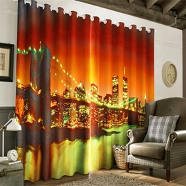 3D Big Ben Bridge Night Scenery Printed Custom Decorative Living Room Curtain
