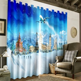 3D Ice Mountains and Wonderful Castles Printed 2 Panels Custom Living Room Curtain