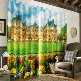 3D Green Lawn and European Buildings Printed Decorative Custom Grommet Top Curtain