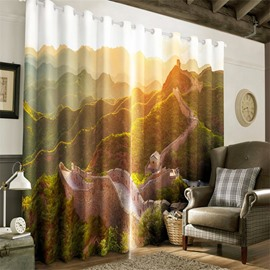 3D Rolling Mountains and Great Walls Printed Thick Polyester Custom Curtain