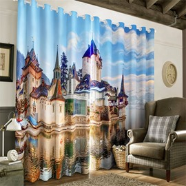3D Grand House in the Water Printed 2 Panels Decorative Custom Living Room Curtain