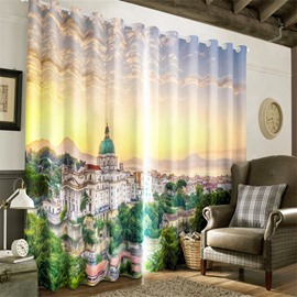 3D City Buildings Printed Decorative 2 Panels Custom Living Room Curtain