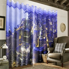 3D City Buildings Printed Top View Scenery Modern Style 2 Panels Custom Living Room Curtain
