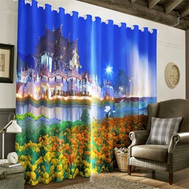 3D Retro Buildings and Blooming Flowers Printed Night Scenery Custom Curtain