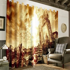 3D Grand and Ancient Buildings Printed Artificial Work Custom Living Room Curtain