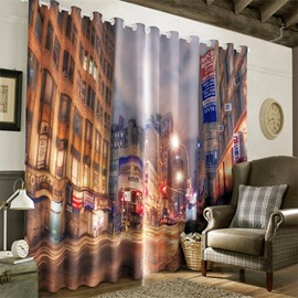 3D Noisy Night City Street Printed Modern Style 2 Panels Decorative Custom Living Room Curtain