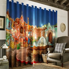 3D Dreamy Fairy Tale Castles Night Scenery Printed Custom Decorative Baby Room Curtain