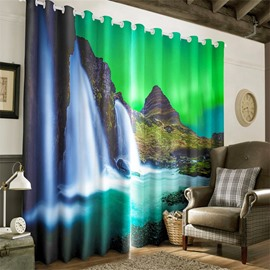 3D Steep Mountains and Running Waterfalls Printed Natural Scenery 2 Panels Living Room Curtain