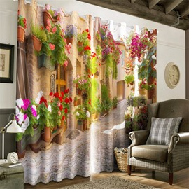 3D Retro Buildings with Flowers and Slate Road Printed Custom Curtain for Living Room