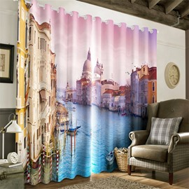 3D City on the River Printed 2 Panels Custom Decorative Living Room Curtain