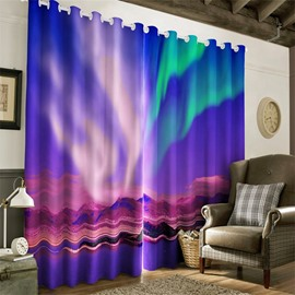 3D Rolling Mountains in Night Printed 2 Panels Decorative and Blackout Custom Curtain