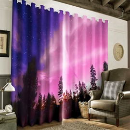 3D Bright Stars Printed Purple Natural Night Scenery Custom Living Room Curtain