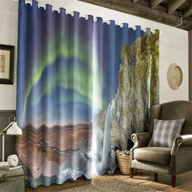3D Mountains and Rainbow Printed Natural Beauty Custom Living Room Curtain