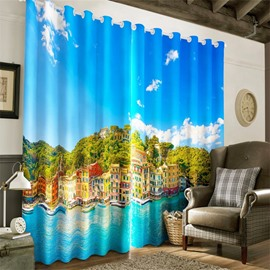 3D Blue Seas and City Buildings Printed 2 Panels Custom Living Room Curtain