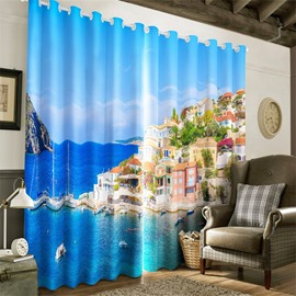 3D Blue Water and Coastal City Printed 2 Panels Custom Living Room Curtain