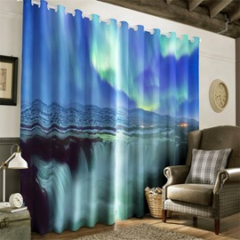 Majestic Running Waterfalls Printed Thick Polyester Decorative Custom Window Drapes