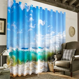 3D Blue Sky with White Clouds and Green Seas Printed Custom Living Room Curtain