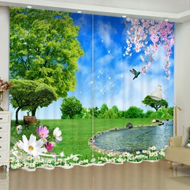 3D Green Grassland and Limpid River Printed 2 Panels Living Room Curtain
