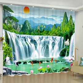 3D Running Waterfalls and Jumping Golden Fishes Printed Custom Living Room Curtain