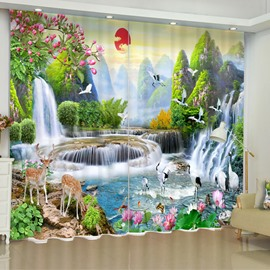 3D Waterfalls Lotus Flowers and Elks Printed 2 Panels Decorative and Blackout Custom Curtain