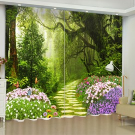 3D Charming Forest and Purple Flowers Printed Natural Scenery Custom Curtain