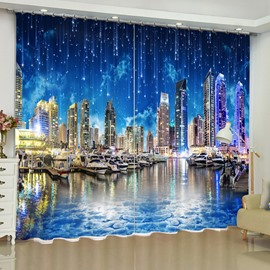 Romantic and Modern City Printed Night Beauty 2 Panels Custom Living Room Curtain