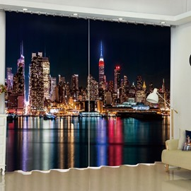 3D Modern Buildings Printed Wonderful Night Scenery 2 Panels Custom Living Room Curtain