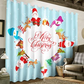 3D Lovely Santa Claus Printed Christmas Feast 2 Panels Decorative and Blackout Custom Curtain