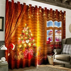 3D Red Bright Christmas Tree Printed 2 Panels Decorative Custom Curtain
