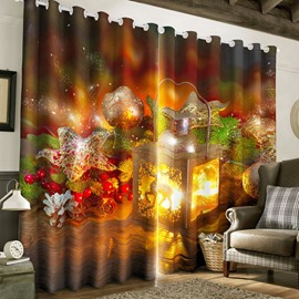 3D Wonderful Christmas Decorations Holiday Season Backdrop 2 Panels Silky Polyester Blackout Custom Curtain