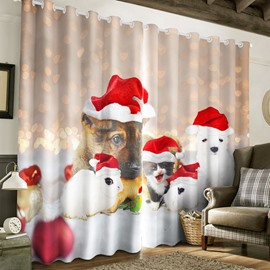 3D Lovely Dog Kitty and Rabbit Printed Christmas Polyester Custom Living Room Curtain