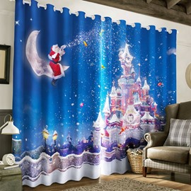 3D Kindly Santa Claus and Wonderful Castles Printed 2 Panels Decorative Curtain