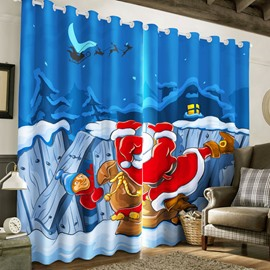 3D Cartoon Santa Claus in Night Printed Happy Christmas Polyester Custom Curtain