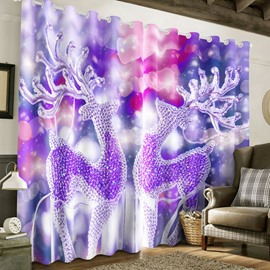 3D Dreamy Purple Crystal Deer Printed Christmas Day Custom Living Room Curtain