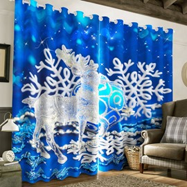 3D Lovely Deer and White Snow Printed Christmas Theme 2 Panels Custom Curtain