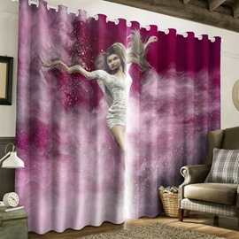 3D Dancing Lady Printed Dreamy Purple 2 Panels Custom Living Room Curtain