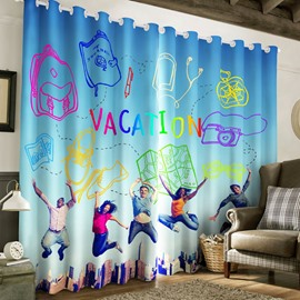 3D Happy Jumping People Printed 2 Panels Decorative and Blackout Curtain