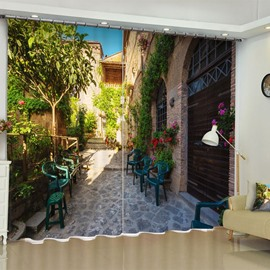 Small Clean Yard with Green Plants Printed 2 Panels Living Room Window Drapes