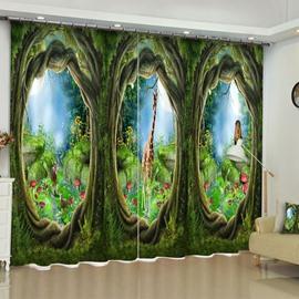 Creative Huge Tree Holes and Deer Printed 2 Panels Grommet Top Living Room Curtain
