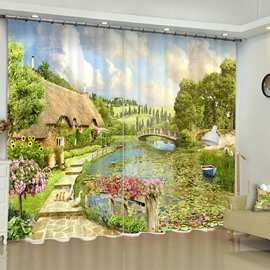 3D Wooden House and Bridge with Beautiful Flowers and Limpid River Printed Custom Curtain