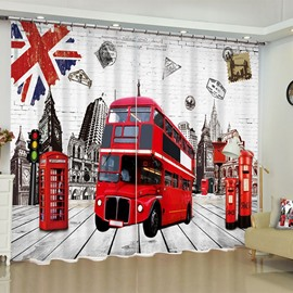 European Retro Style Telephone Booth and Bus Printed 2 Panels Living Room Curtain