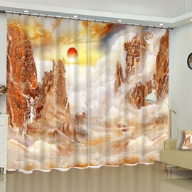 3D Rolling Rivers and Red Sunlight Printed 2 Panels Custom Living Room Window Drapes