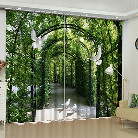 Lush Corridor and Flying Doves Printed 2 Panels Living Room Custom Curtain