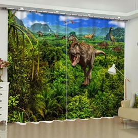 3D Roaring Dinosaurs on the Lush Virgin Forest Printed Custom Living Room Curtain