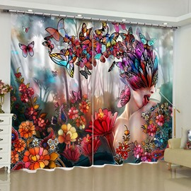 Charming Butterfly Fairy Printed Excellent Artistic Work Custom Living Room Curtain