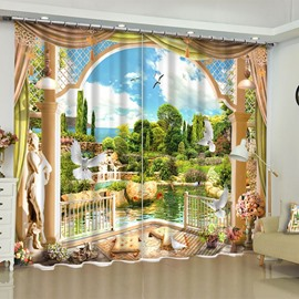 Flying Doves and Green Mountains and Water Printed 2 Panels Living Room Curtain